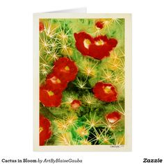 Cactus in Bloom Card Write your own greeting inside. Enjoy the art on the outside. Smile! #greeting #greetings #thankyou #thanks #iloveyou #friend #bff #cactus #succulent #flowers #desertflower #desertbloom #bloom #needle #cactusneedle #coachella #burningman #desertart