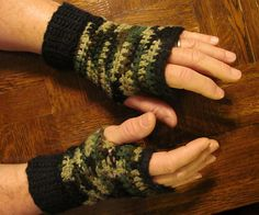 Crochet Fingerless Gloves. Comfy for chainsawing, hunting, fishing.. perfect for outdoor activity.