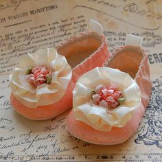 SORBET-peach lace baby shoes. $45.00, via Etsy.