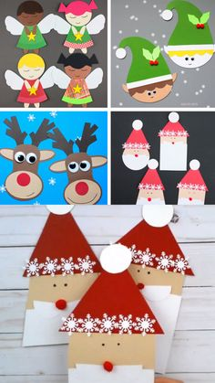 Paper Christmas crafts for preschoolers, kindergartners and older kids. Angel crafts, elf craft, reindeer craft, Santa craft made with shapes. Use the printable template to make these easy Christmas crafts. #shapesanta #santacraft #reindeercraft #christmascraft #christmascraftsforkids #angelcraft #elfcraft #paperchristmascraft