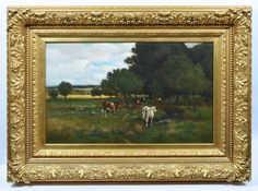 Grazing Pasture | See more Landscape Paintings at https://www.1stdibs.com/art/paintings/landscape-paintings on 1stdibs