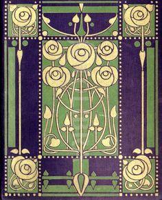Art Nouveau book design Glasgow School (An original highly-stylized Art Nouveau design for a book binding by leading Glasgow School. Azulejos Art Nouveau, Motifs Art Nouveau, Motif Art Deco, Art Nouveau Tiles, Art Nouveau Design, Design Art, Art Nouveau Pattern, Design Ideas, Illustration Art Nouveau