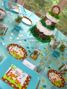 More Jungle baby shower 2nd Baby Showers, Baby Shower Fun, Baby Shower Themes, Baby Boy Shower, Shower Ideas, Jungle Theme Parties, Jungle Party, Party Themes, Party Ideas