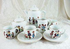 Antique Bavarian Children's Porcelain Playtime Tea Set