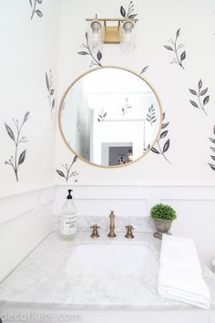 Stunning DIYs and room makeovers -- link up yours! Before and after link up at Thrifty Decor Chick -- tons of before and after DIY projects and inspiration! - Stunning DIYs and room makeovers -- link up yours! Room Makeover, Tiny Powder Rooms, Bathroom Interior Design, Bathroom Wallpaper, Room Update, Bathroom Makeover, Bathroom Mirror, Round Mirror Bathroom, Bathrooms Remodel