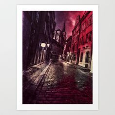 At Night by Cullen Rawlins A shot of a Prague street, edited and overlayed to give a dark and mysterious feel, http://society6.com/product/at-night-c9s_print?curator=andreajeanco