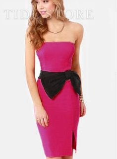 USD$ 13.79 Stunning Side up Strapless Roseo Dress Fashion Clubwear: tidestore.com