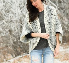If you can't already tell, I have a thing for these blanket sweaters!  This new Light Frost Blanket Sweater pattern uses a simple crochet stitch combinatio
