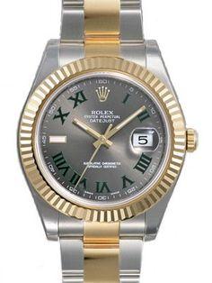 Rolex Datejust II Grey Roman Dial 18k Yellow Gold Bezel Two Tone Oyster  Watch  @ashleesloves.com