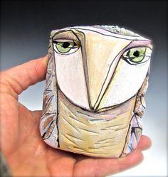 Owl Owl art Clay owl clay sculpture Owl Person by BlueFireStudio