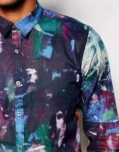 Image 3 ofPS by Paul Smith Shirt with Painters Pallete Print Slim Fit
