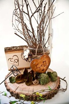 simple DIY centerpiece ~ accessorize with itmes from nature ~ mantel