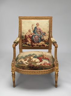Armchair Beauvais Date: designed ca. 1786, woven 1790–91; on second half 19th century frames Medium: Carved and gilded wood; wool, silk