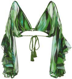 Jungle Green Agua de Coco Folhas Draped Bikini Top #siswim #swim #fashion #ss17 #resort #cruise #goals #slay