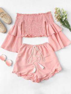 Frill Trim Layered Sleeve Top With ShortsFor Women-romwe Cute Comfy Outfits, Cute Girl Outfits, Cute Summer Outfits, Girly Outfits, Pretty Outfits, Stylish Outfits, Girls Fashion Clothes, Teen Fashion Outfits, Outfits For Teens