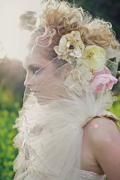 Bridal hair piece  rustic barn wedding  dramatic by Shanionie, $50.00