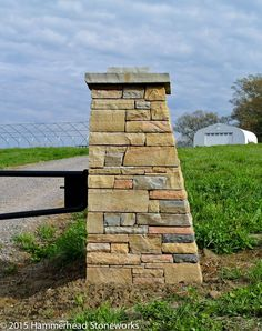 Stone column for an automatic driveway gate
