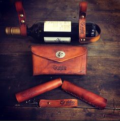 My handmade product, holder of wine, leather bike bag, leather grip, vintage accessorier for bicycles, for sale