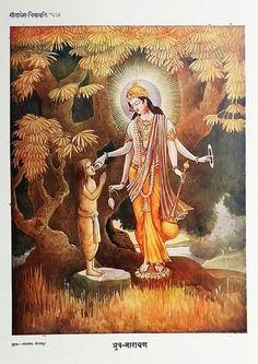 Dhruva Narayan - Vishnu appears before devotee Dhruva Geeta Press. Krishna Lila, Krishna Art, Radhe Krishna, Hindu Deities, Hinduism, Indian Culture And Tradition, Indiana, Mythology Paintings, Spiritual Paintings