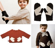 oeuf hug me sweater and squeeze me mittens. SO CUTE. Discontinued, but probably pretty easy to make
