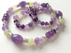 Lavender Amethyst Green Jade and Sterling Silver Gem Bead