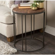 Kosas Home Burnham Reclaimed Wood and Iron End Table (Reclaimed Pine wood and Iron), Brown