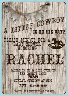 Country Baby Shower Invitations - √ 28 Country Baby Shower Invitations , Little Cowboy Baby Shower Invitation Western Party Western Invitations, Baby Shower Invitations, Invites, Cowboy Baby Shower, Baby Boy Shower, Baby Shower Parties, Baby Shower Themes, Shower Ideas, Shower Party