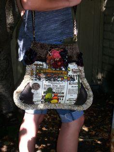 WoW Steampunk Shoulder Saddle Bag Purse w Brooch by Bettohz, $225.00