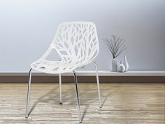 Tuinstoel - Plastic stoel wit - Stoel van kunststof - chromen poten - BLEEKER