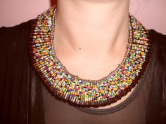 Beaded Safety Pin Necklace/Collar by 312style on Etsy