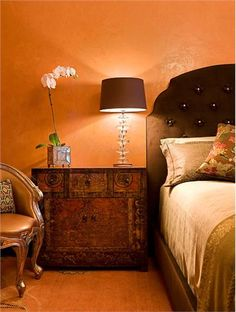Dramatic Transitional Bedroom by Deb Reinhart, ASID