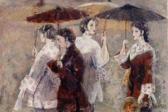 Four ladies with umbrellas yihang pan