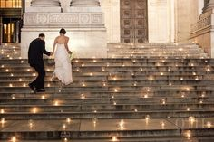 Make your wedding sparkle with dozens of candles on the steps | Christian Oth Studio Photography