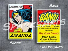 Bachelorette Party Invites Wonder Woman Superhero by SparksArts