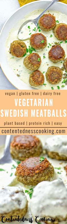 Super easy to make Vegetarian Swedish Meatballs. Entirely vegan and gluten free. Made from lentils, onions, and tasty spices. Top it with the creamy white gravy and you have an amazing plant-based lunch or dinner in no time.