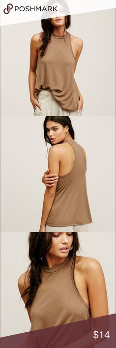"""Free People Mock Me racerback a-line tank top Free People """"Mock Me"""" tank top in birch (tan with a slight greenish hue). Worn and washed once, EUC, tag removed. Beautiful flowing a-line shape with mock neck and drapey silhouette perfect for layering or wearing alone! Free People Tops Tank Tops"""