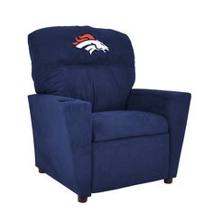 Now your kids can enjoy some team spirit with the very own Denver Broncos NFL Kids Recliner comes with cup holder. Denver Broncos Fan Gear Made in USA Nfl Denver Broncos, Broncos Fans, Pittsburgh Steelers, Indianapolis Colts, Dallas Cowboys, Bronco Car, Round Wicker Chair, Kids Recliner Chair, Sports Team Apparel