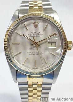 Rolex 18k Gold SS Datejust Mens Awesome Tuxedo Dial 16013 Watch #Rolex #Sport