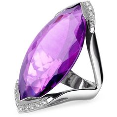 Forzieri Amethyst and Diamond White Gold Fashion Ring $2,065 USD ❤