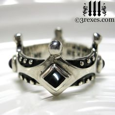 Silver Crown Onyx Engagement Ring Gothic by 3RexesJewelry