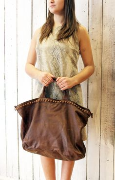 SHIP BAG 12 Handmade Italian Vintage Leather Tote with studs di LaSellerieLimited su Etsy