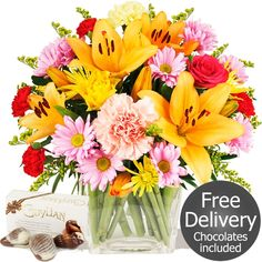 Flowers by Season Autumn Flowers - Bliss & FREE Chocolates Autumn Flowers, Fresh Flowers, Beautiful Flowers, Gifts Delivered, Flowers Delivered, Flower Fashion, Chocolates, Bliss, Bouquet