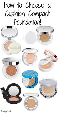 How to choose a Cushion Compact Foundation! - Makeup Techniques Fondoten , How to choose a Cushion Compact Foundation! Guide to choosing a cushion compact foundation! Make up tutorial. Foundation Dupes, Compact Foundation, Liquid Foundation, Powder Foundation, Beauty Tips For Hair, Natural Beauty Tips, Hair Tips, Top Beauty, Natural Makeup