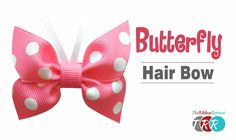 DIY spike hair bow with grosgrain ribbon. How to make hair bows for little girls! This spiked hair bow tutorial is a perfect way to coordinate ribbons for yo. Ribbon Hair Clips, Diy Hair Bows, Diy Bow, Ribbon Bows, Ribbons, How To Make Butterfly, Butterfly Hair, How To Make Hair, How To Make Bows