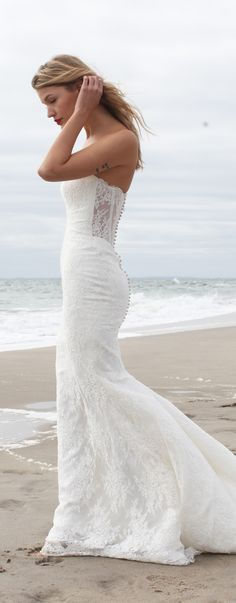 'Ginger' in the sand | Lace Wedding Dress by Kelly Faetanini | Photo: LEE CLOWER PHOTOGRAPHY