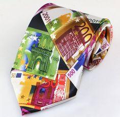 Mens money themed novelty necktie - polyester micro-fiber