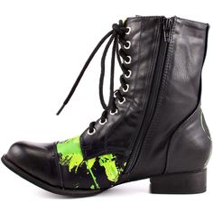 Abbey Dawn Rockstar Combat Boot - Black Green ($78) ❤ liked on Polyvore featuring shoes, boots, ankle booties, combat boots, low heel ankle boots, black military boots, block heel booties, black bootie boots and lace up combat boots