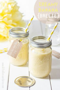 Creamy Banana Breeze Smoothie in these perfect Mason Jars, sweet