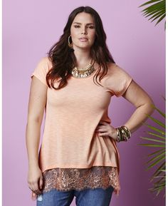 Lace-Trimmed Slub-Knit T-Shirt modeled by Candice Huffine