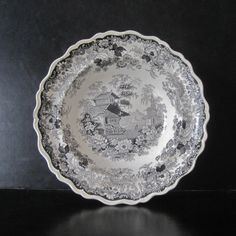 Black Transferware Ironstone Bowl marked Swiss Scenery and attributed to Joseph Stubbs by Hallingtons